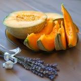Pieces of cavaillon melon Royalty Free Stock Photos
