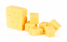 Pieces of Cheese Stock Photo