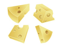 Pieces of cheese. 3d illustration of different sized pieces of cheese with holes, white studio background Royalty Free Stock Photography