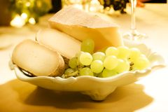 Pieces of cheese. Pieces of gouda and pecorino cheese Royalty Free Stock Images