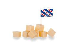 Pieces of cheese isolated on a white background Royalty Free Stock Photos
