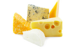 Pieces of cheeses Stock Images