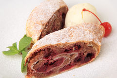 Pieces of cherry strudel Stock Photography