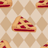 Pieces of cherry tart seamless pattern Stock Images