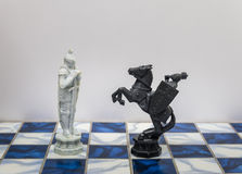 A pieces of chess character on the board with a light. A character represents strategy, planning, brave, betrayal, confrontation a Royalty Free Stock Photos