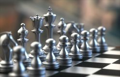Chess Pieces Game Board Stock Photos