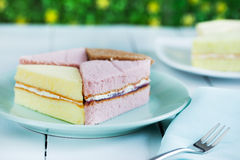 Pieces of chiffon cake on plate for snack Royalty Free Stock Image
