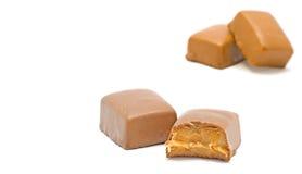 Pieces of chocolate. With caramel Stock Photos