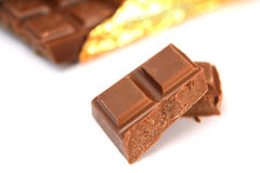 Pieces of chocolate stock images