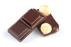 Pieces of chocolate bar with nuts Royalty Free Stock Photo