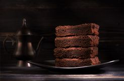 Pieces chocolate brownie cake on a plate Royalty Free Stock Photography