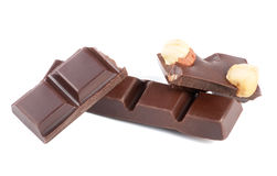 Pieces of chocolate with nuts Stock Photography