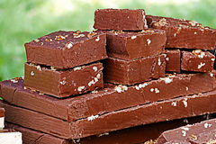 Pieces of chocolate with nuts, homemade Royalty Free Stock Photography
