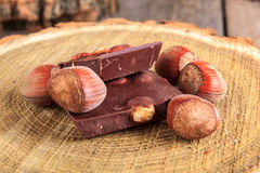 Pieces of chocolate with nuts on stump Stock Image