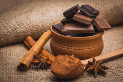 Pieces of chocolate with spices, cinnamon, star Stock Images