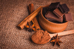 Pieces of chocolate with spices, cinnamon, star Stock Image