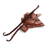 Pieces of chocolate with vanilla pods. Stock Photography