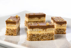Pieces of a chocolate and vanilla pudding cake. With walnuts biscuit on a plate in shallow depth of field Stock Photos