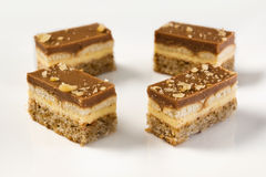 Pieces of a chocolate and vanilla pudding cake. With walnuts biscuit on a plate in shallow depth of field stock photo