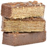 Pieces of Chocolate Waffle Cake Stock Photography