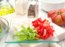 Pieces of chopped vegetables in tray Stock Photos