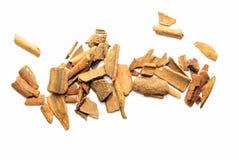 Pieces of cinnamon bark isolated Stock Photo