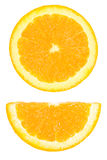 pieces of circle and half sliced orange isolated on white Stock Photography