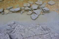 Pieces of clay. In the lake of Shumen stock images