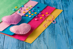 Pieces of cloth, buttons - a sewing kit Stock Photos