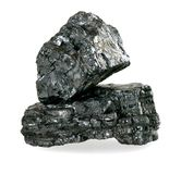 Pieces of coal isolated on white stock images