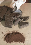 Pieces of cocoa butter and chocolate Stock Image