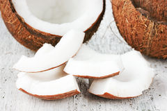 Pieces of coconut copra Royalty Free Stock Images