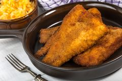 Pieces of cod in breadcrumbs. Pieces of cod in breadcrumbs on a ceramic pan Stock Photos