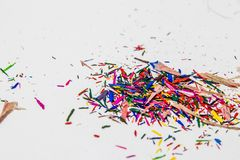 Color Pencil Leftover. Pieces of Color Pencil Leftover Royalty Free Stock Photography