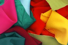 Pieces of colored textile Stock Photo