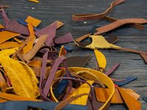 A lot of Pieces of colorful leather royalty free stock photo