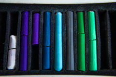 Pieces of colorful pastel chalks Stock Image