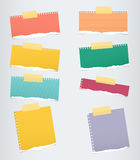 Pieces of colorful ruled torn note paper with yellow adhesive, sticky tape stuck on grey background Royalty Free Stock Photo