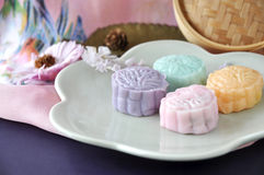 Pieces of Colorful Snow Skin Mooncake Stock Images