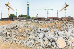 Pieces of concrete and brick rubble debris on construction site Royalty Free Stock Image