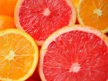Pieces of cut orange stock photography