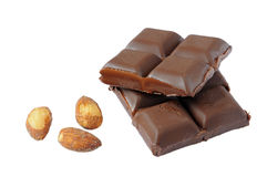 Pieces of Dark chocolate with almonds Stock Photo