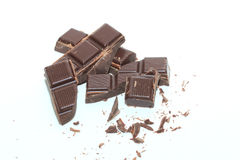 Pieces of a dark chocolate bar Royalty Free Stock Photo