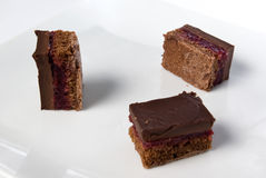 Pieces of a dark chocolate cake with sour cherry Stock Photos