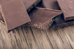 Pieces of dark chocolate closeup Royalty Free Stock Photo