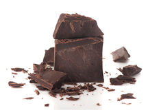 Pieces dark chocolate Stock Photo