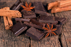 Pieces of dark chocolate Royalty Free Stock Images