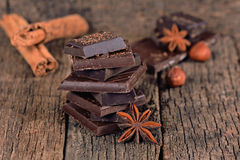 Pieces of dark chocolate Stock Image