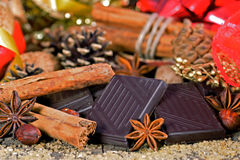 Pieces of dark chocolate Stock Images