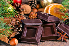 Pieces of dark chocolate Stock Photography